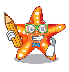 Student starfish in the cartoon shape funny vector