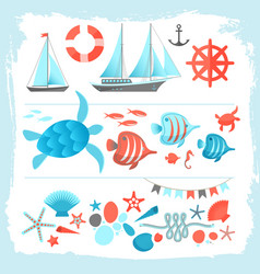 summer colored icons set framed by brush vector image
