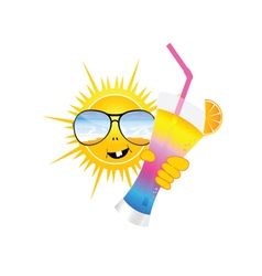sun with sunglass and cocktail art vector image
