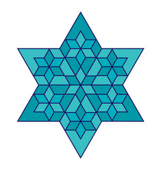 turquoise jewish star with blue outline vector image