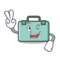 Two finger suitcase character cartoon style vector