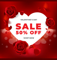Valentines day sale background with flower rose vector