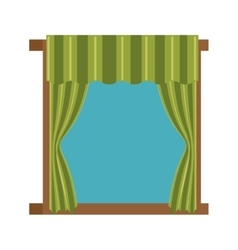 windows with courtain icon vector image
