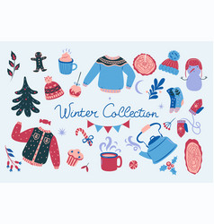 winter collection of design elements vector image