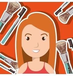 woman make up brush vector image