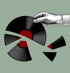 Womans hand with a broken gramophone record vector