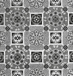 30 Abstract floral mosaic tile vintage vector image vector image