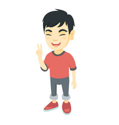 asian little boy showing victory gesture vector image