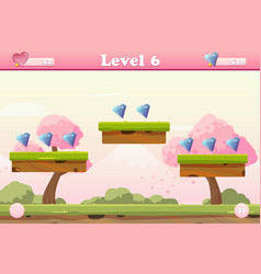 cartoon spring landscape with levels and gems vector image