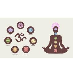 Chakra icons with human silhouette doing yoga pose vector image