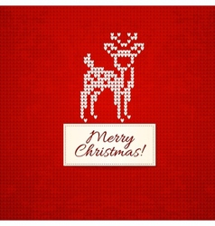 Christmas knitting background with christmas deer vector image vector image