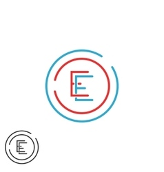 Letter E logo monogram combination EE circle vector image