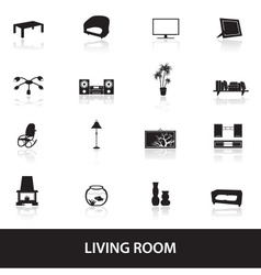 living room icons eps10 vector image