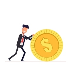 Businessman or manager pushes a gold coin man in vector