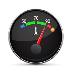 car engine temperature gauge hot with metal vector image vector image