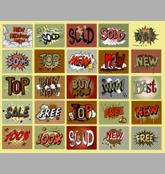 comic book stile stickers vector image