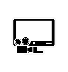 computer monitor and film projector icon vector image vector image