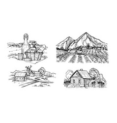 handdrawn scetch of rustic landscape vector image