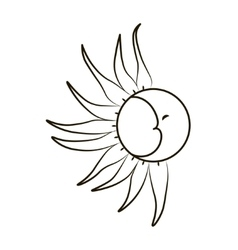 Sketch of the moon and sun on a white background vector image vector image