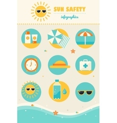 Sun and Beach Safety Rules Infographics Icons Set vector image