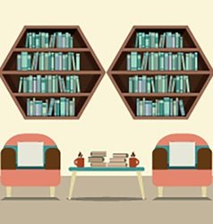 Two Sofas With Hexagon Bookshelves vector image