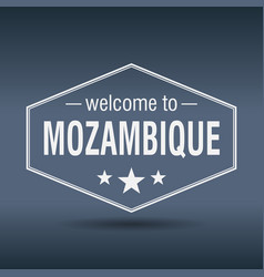 welcome to mozambique hexagonal white vintage vector image