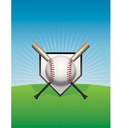 Baseball Background Ball and Bats vector image