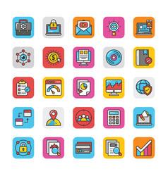 digital and internet marketing icons set 5 vector image
