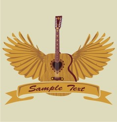 love acoustic guitar and wing vector image vector image