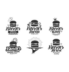 burger fast food logo or icon emblem label for vector image vector image