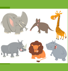 cute safari animals set vector image