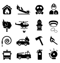 fire fighting web icon set vector image vector image