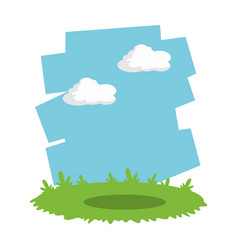 grass and sky landscape cartoon vector image