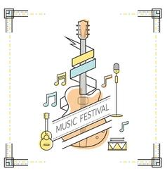 Guitar music festival poster line style vector