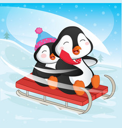 of penguins skiing vector image