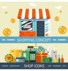 Shopping Concept and Icons Designs vector image vector image