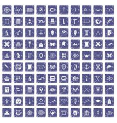 100 archeology icons set grunge sapphire vector