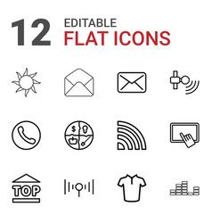 12 website icons vector image