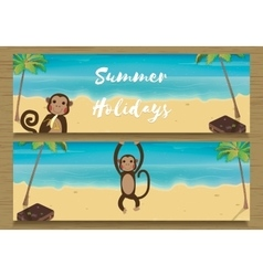 2 summer holidays banner with funny monkey monkey vector