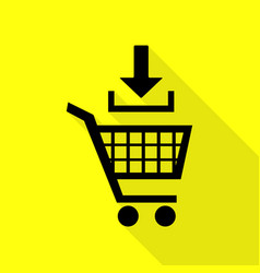 add to shopping cart sign black icon with flat vector image