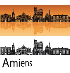 Amiens skyline in orange background vector
