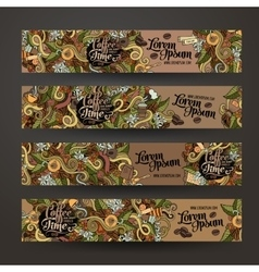 banner templates doodles coffee theme vector image