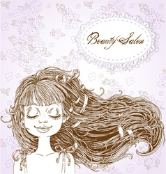 Beauty Salon Cute serene girl with flowing hair vector