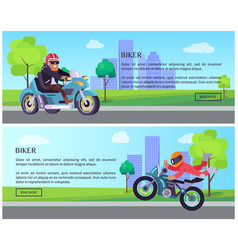Biker web pages design with push buttons vector