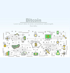 bitcoin advertising modern thin line flat vector image