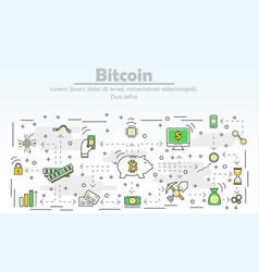 bitcoin advertising modern thin line flat vector image