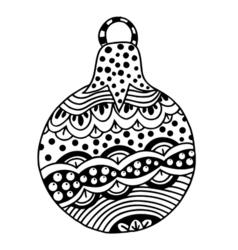 Black and white Christmas ball vector image