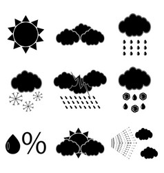 black silhouette meteorology icons set vector image