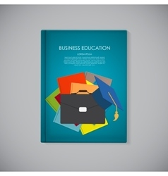 Book cover template with business education vector