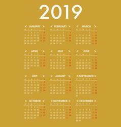 calendar2019 simple design template on gold vector image